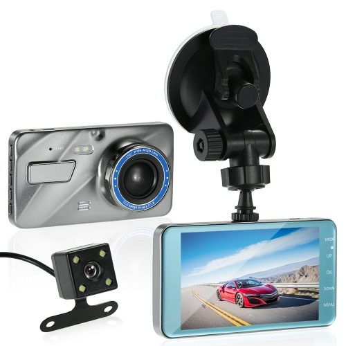 KKMOON 4 Inch Dual Lens Car DVR Dash Cam Camera Camcorder LED Night Vision / Motion Detection / Loop Recording / G-sensor