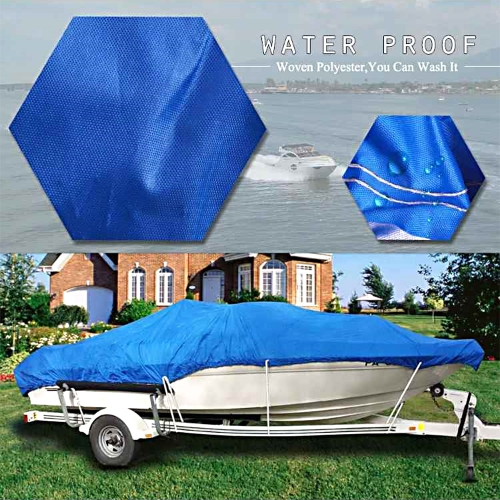 20-22FT Boat Cover Waterproof Silver Reflective Fits V-HULL TRI-HULL Fishing Boat Runabout Bass Boat Heavy Duty Trailerable Fishin