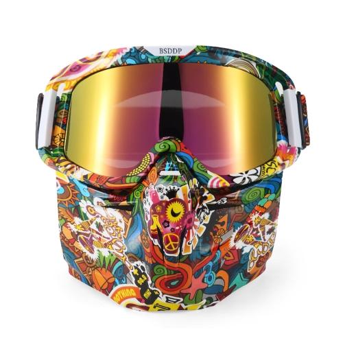 Bike Motorcycle Face Mask Goggles Motocross Motorbike Motor Open Face Detachable Goggle Helmets Vintage Glasses Universal