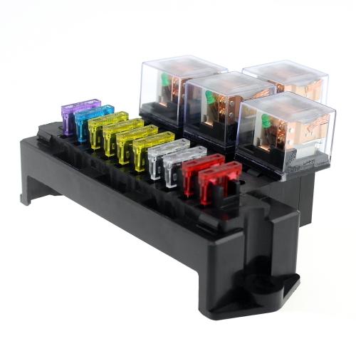 Bloc de support de fusible de relais de base de la prise 5-Pin de la boîte 5 de fusible avec 13Pcs Fusibles standard de lame universelle pour les pièces d'intérieur automatiques