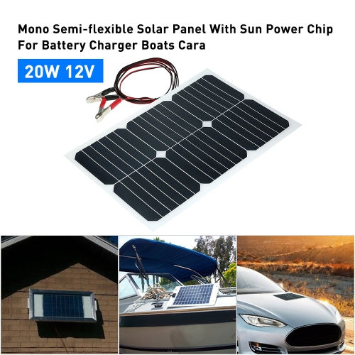 20W 12V Mono Semi-flexible Solarpanel With Sunpower Chip For Battery Charger Boats Cara
