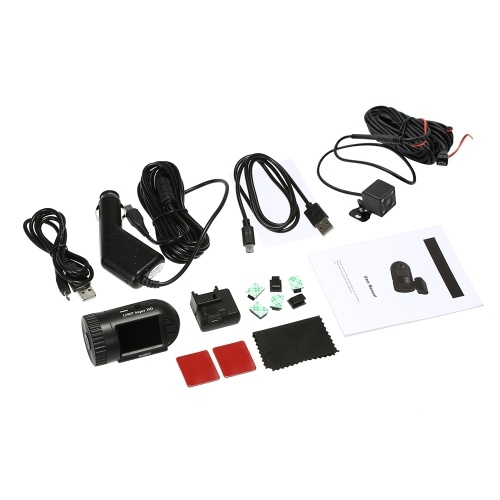 1296P Super HD Dash Cam con cámara de visión trasera Super Mini 805P 1.5Inch Pantalla LCD GPS Tracker Car DVR Super Capacitor sin batería