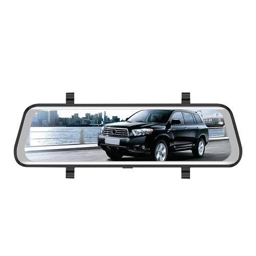 Monitor alto completo do espelho do carro DVR da definição com a câmera dobro da visão nocturna do registrador