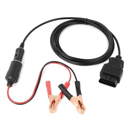 OBDⅡ ECU del vehículo Fuente de alimentación de emergencia Cable Ahorro de memoria del automóvil Adaptador de cable (3 metros) con enchufe de encendedor de cocodrilo con encendedor