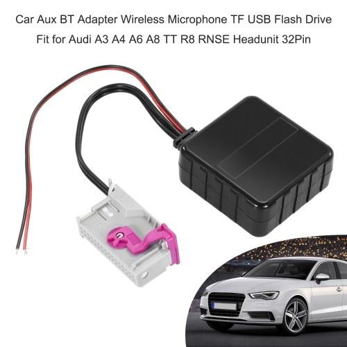 Adaptador de coche Aux BT Micrófono inalámbrico TF USB Flash Drive Fit para Audi A3 A4 A6 A8 TT R8 RNSE Headunit 32Pin
