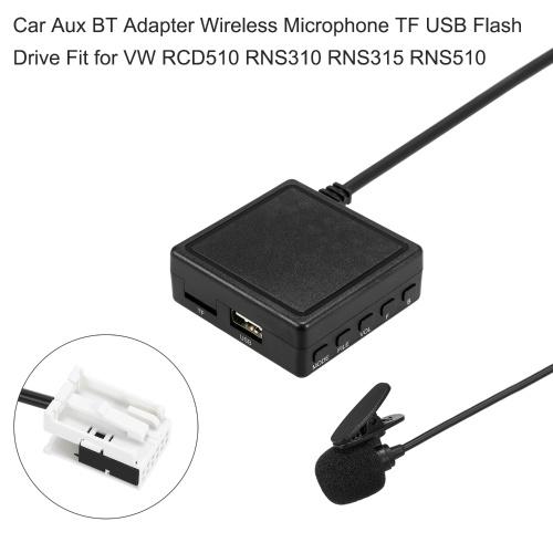 Автомобильный адаптер Aux BT Беспроводной микрофон TF USB Замена флэш-накопителя для VW RCD510 RNS310 RNS315 RNS510