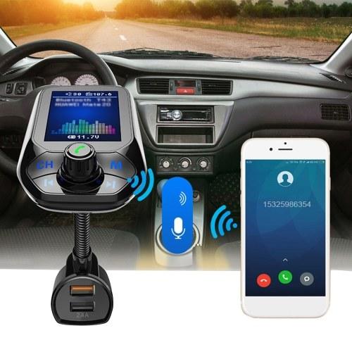 T43 Car MP3 Player Multifunción BT5.0 Transmisor FM Cargadores USB duales Soporte Tarjeta manos libres TF Disco U Música Play