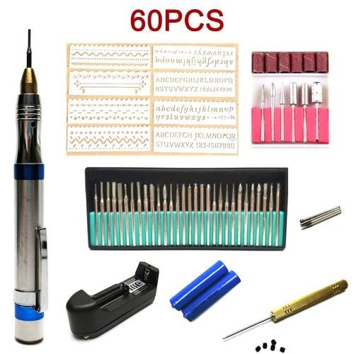 60pcs Engraving Tool Kit Multi-Functional Electric Micro Engraver Pen Portable Mini DIY Vibro Engraving Tool for Jewelry Glass Wood Metal Ceramic Plastic