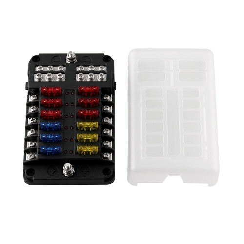 12-Way Fuse Box Blade Fuse Block Holder With LED Indicator Light Screw Nut Terminal Waterpoof Cover for Automotive Car Marine Boat