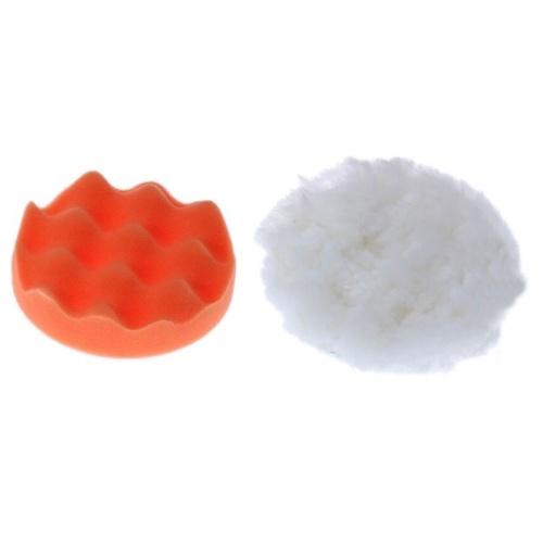 2pcs 5〃Kits de almohadillas de encerado de pulido de espuma de coche Almohadilla de pulido Rueda de pulido Almohadillas de pulido de esponja y lana para pulidora