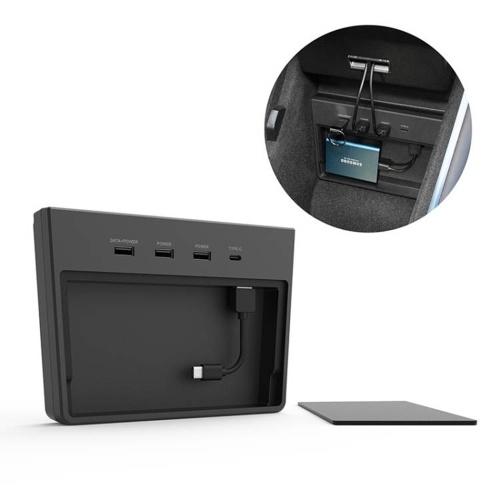Hub multi USB, accesorios de la consola central del interior del automóvil con conexión de puertos 5 en 1 para Tesla Model 3