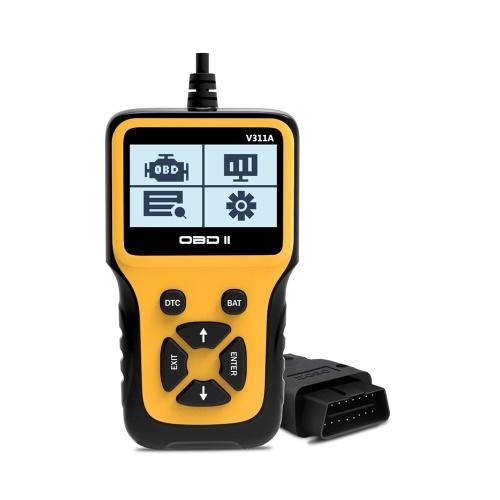 V311A OBD II Сканер автомобиля Диагностический прибор Обнаружение напряжения батареи для всех автомобилей, совместимых с OBD II 1996 года и новее