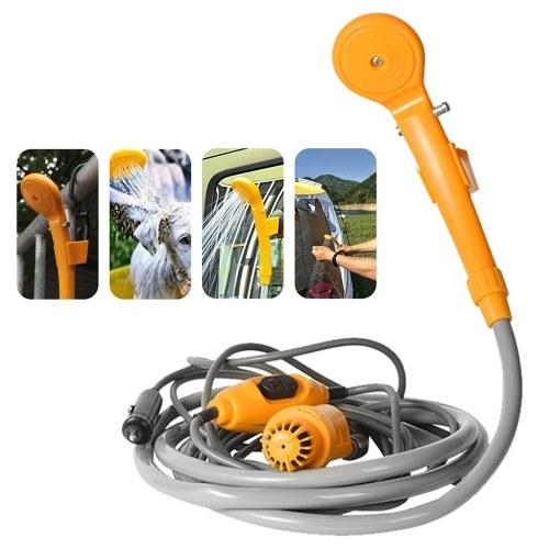 Herramienta de lavado portátil para ducha de automóvil 12V: bombea agua del balde a un chorro de ducha suave y estable para acampar Viajar a la playa Nadar Mascotas Baño al aire libre / interior