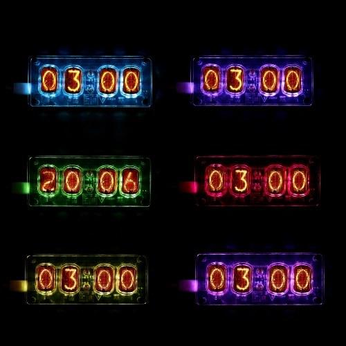 IN-12グローチューブクロック4ビットレトロヴィンテージIN12ニキシーチューブクロックサイバーパンク装飾マルチカラーLEDバックライト付き