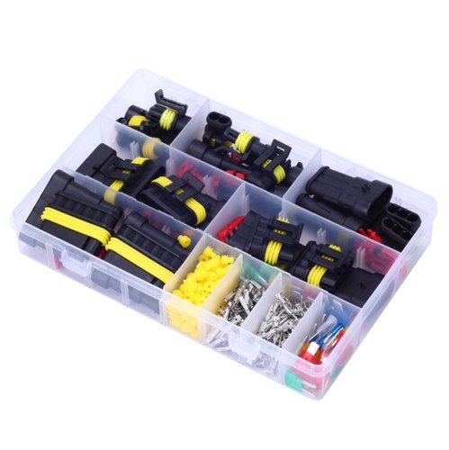 240 piezas impermeable 1-6 pines conector de cable eléctrico y mini kit de fusibles de cuchilla estándar para coche motocicleta