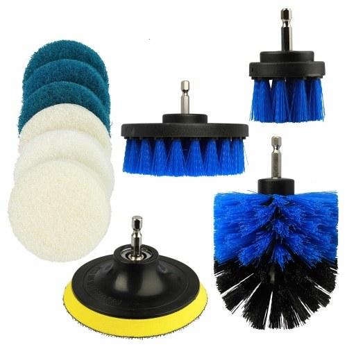 10Pcs Scrub Drill Brush Многоцелевой комплект Насадки для чистки дрели Универсальная глубокая очистка