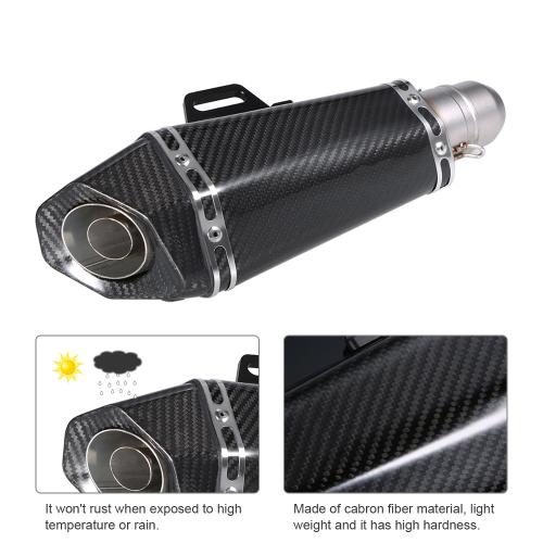 51 milímetros de fibra de carbono Revisa Exhaust Muffler tubos de pequeno hexágono Estilo para motocicletas ATV Universal