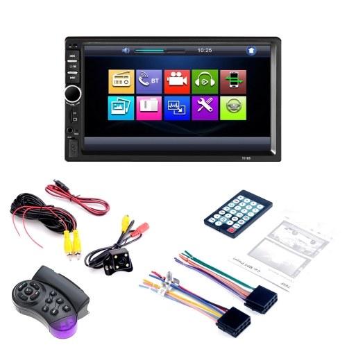 7 pouces écran tactile HD Radio MP3 MP5 Player 7018B 2DIN voiture Radio BT audio stéréo USB avec caméra de recul et contrôleur de volant
