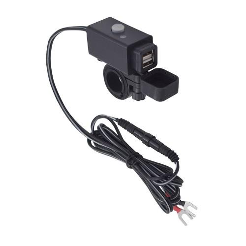 12-24V Motorcycle SAE 3.1A Chargeur secteur double USB imperméable à l'eau avec interrupteur Voyant LED