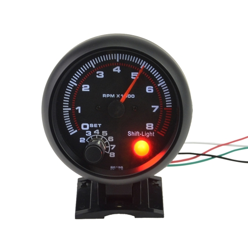 "3.75 ""Car Universal Black Tachometer Gauge Bianco Inter Shift light 0-8000 RPM"