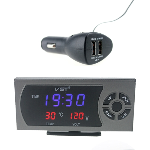 Multifunction LED Digital Clock with Thermometer Voltmeter for Sedan SUV RV Truck