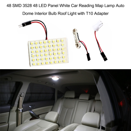 SMD 3528 LED Panel White Car Reading Map Lamp  Auto Dome Interior Bulb Roof Light with T10 Adapter K6253-4