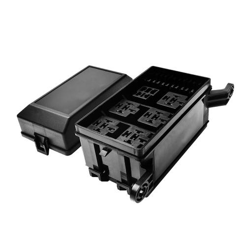 Reles de caja de relés de 12 ranuras 6 Relés 6 Bloque de sujeción de fusibles estándar ATC / ATO con 41 pines metálicos universales universales para uso automotriz y marino