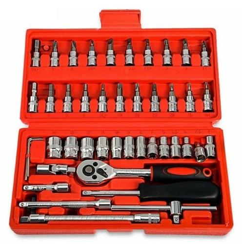 46pcs автомобильная механика набор инструментов ключ храповик рукав костюм оборудование авто ремонт автомобилей инструменты