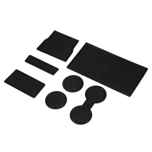 7 pezzi Box bracciolo Tappetino portaoggetti Tappetino centrale Tappetini consolle Tappetino antiscivolo Adatto per Tesla Modello 3