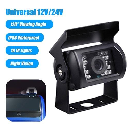 12V / 24V Автомобильная резервная камера IP68 Водонепроницаемая парковочная камера заднего вида 18 ИК-подсветка Ночное видение Широкий угол обзора 120 ° Камеры заднего вида