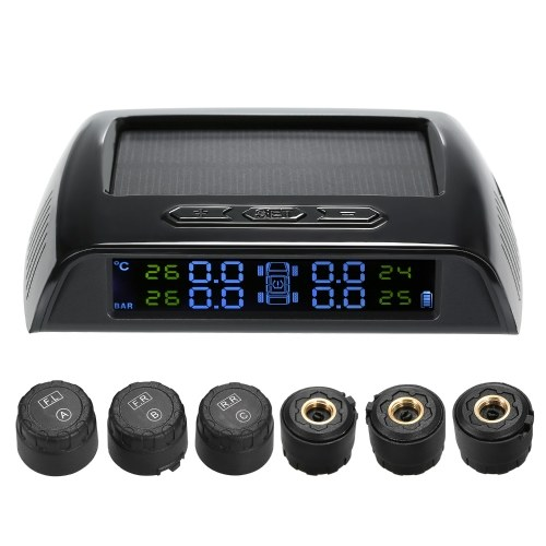 Wireless Solar Power TPMS Tire Pressure Monitoring System RV Truck TPMS with 6 External Sensors for 4-6 Tires Car RV Truck Tow Trailers