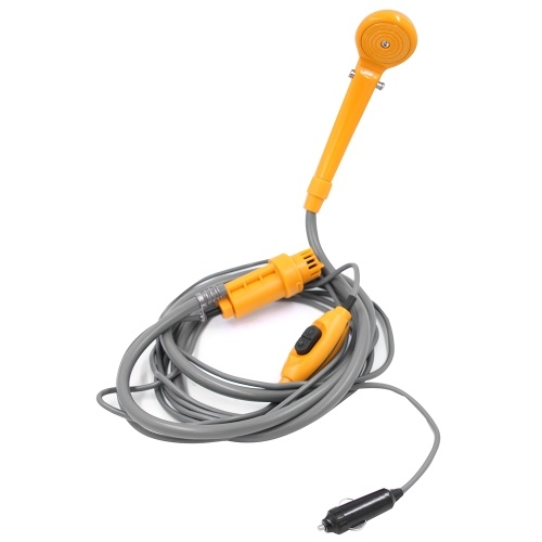 12V Camping Duschen mit Wasserpumpe 6 Meter Kabel mit Zigarettenanzünder Stecker Max 2,5L Wasser pro Minute