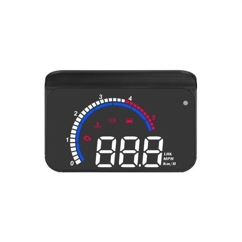 Pantalla HUD para automóvil, proyector de parabrisas con pantalla frontal, velocidad, reloj digital, advertencia de exceso de velocidad, medición de kilometraje, temperatura del agua, dirección, pantalla de rango único para todos los vehículos