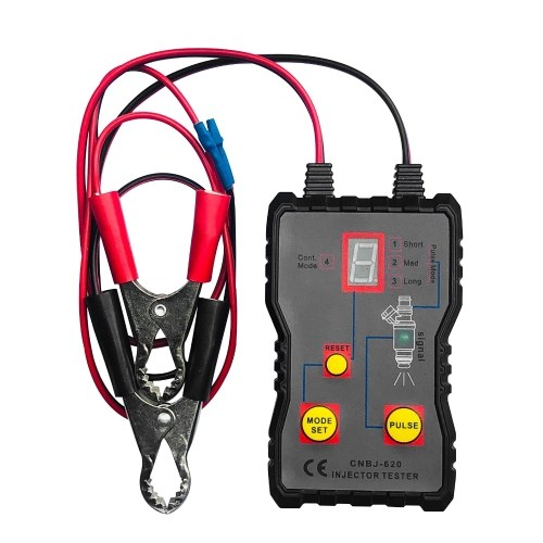 Probador de inyector de combustible 4 modos Pluse Inyector de combustible Limpiador de descarga Adaptador Kit de herramientas de limpieza