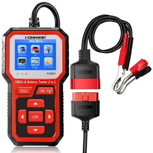 KONNWEI KW681 2 en 1 testeur de batterie de moto de voiture et outil de Scanner de Diagnostic OBDII