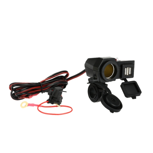 WUPP 12V Car Motorcycle Cigarette Lighter Socket Dual USB Port Charger for iPhone6 6S iPad iPod GPS