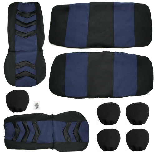 Universal Car Seat Cover Set 9Pcs Seat Covers Front Seat Back Seat Headrest Cover Mesh Black and Blue
