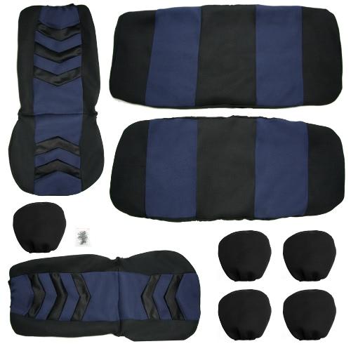 Kit de caches de siège-auto universel 9Pcs siège avant couvre siège arrière siège appui-tête couverture maille noir et bleu