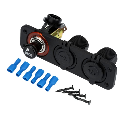 Dual USB Car Cigarette Lighter Socket Splitter Charger Adapter + Power Socket + Socket 12V Plug