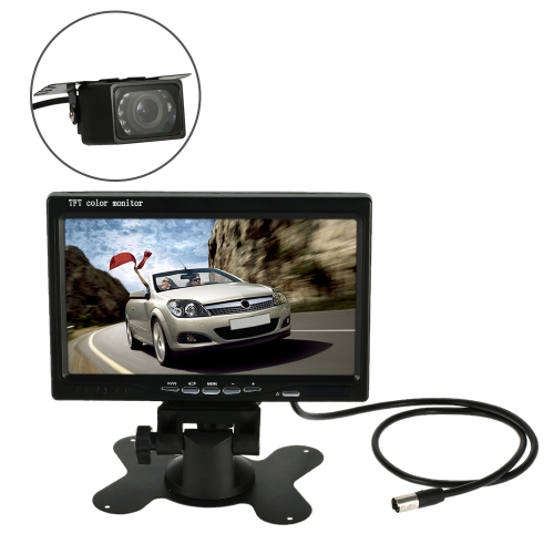 7 Inch Large TFT LCD Monitor Wireless Video Transmit Car Rear View Backup Reverse System with Mini Night Vision Camera
