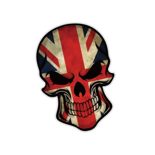 3D Stereoscopic Novel Funny Devil Skull Head Squelette Flag Pattern Car Sticker Cover Waterproof Outdoor Window Reflective Sheeting Pare-brise Décalage arrière Styling Auto Vehicle Extérieur Décoration