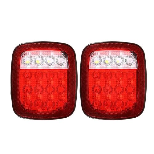 2шт. 16 светодиодов красного / белого цвета с двойным цветом. Универсальный задний фонарь. Стоп-сигнал для поворота хвоста для автомобилей 12 В