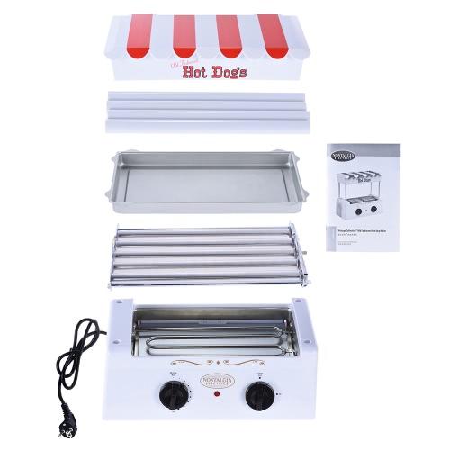 Ностальгия HDR565 Старомодный Бытовая Hot Dog Roller Grill Maker Горячая собака барбекю BBQ машина с Bun грелка 5 Ролики