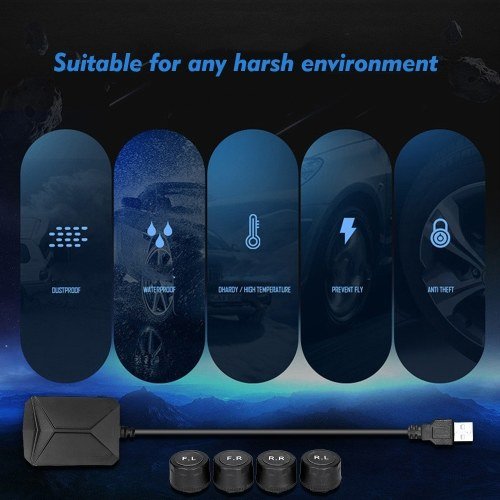 Tire Pressure Monitoring System For Android Navigation with 4 External Sensors Real-time Display 4 Tires' Pressure & Temperature