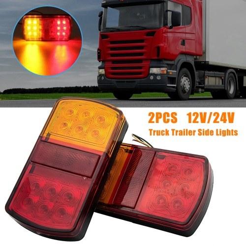 2Pcs 12 / 24V 12 Luces traseras de coche Led Lámpara de freno de parada Indicador de parada de luz lateral trasera para remolque de camión sumergible