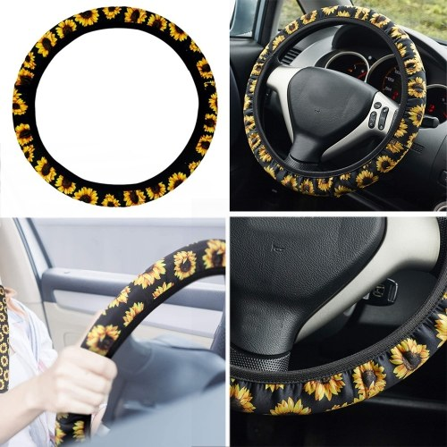 Universal Sunflower Steering Wheel Cover,Anti Slip and Sweat Fabric Car Sunflower Accessories