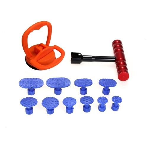 Paintless Dent Repair Tools Kit 1-teiliges Red Dent Puller-Entfernungswerkzeug mit 10-teiligen Plastikleimlaschen und 1-teiligem Glasheber Auto-Saugnapf-Vakuumglasheber