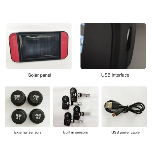 Car TPMS Tire Pressure Monitoring System Car Wireless Solar Charging Alarm System