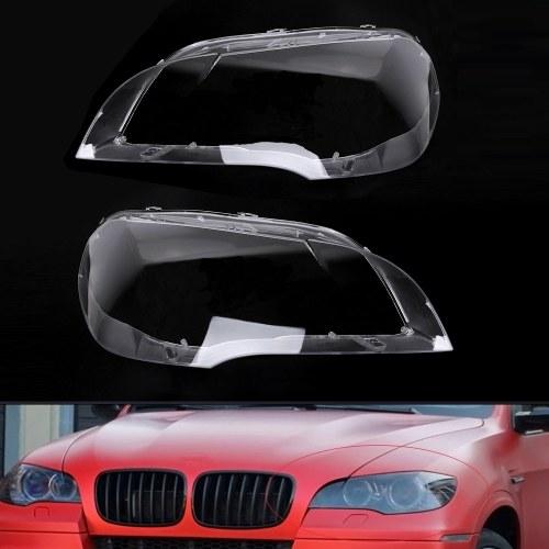 Reemplazo de la cubierta del coche de la lente transparente de la cubierta del faro del faro del coche para BMW X5 E70 2008-2013, 2PCS L&R