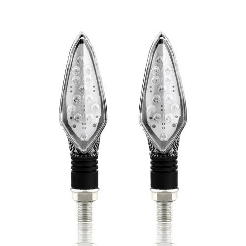 16 LED, 2 luces LED de señal de giro para motocicleta, intermitentes, intermitentes delanteros y traseros para motocicleta, luz universal para correr (serpiente y negro)